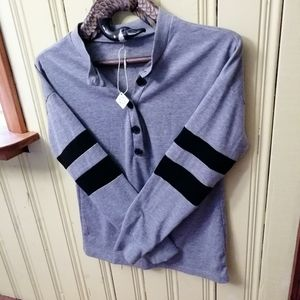 BeGlam Grey Jersey Knit Polo, Size Small